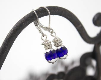 Small Drop, Blue and Silver Earrings, with Sterling Silver Lever Backs, Silver Earrings, Something Blue