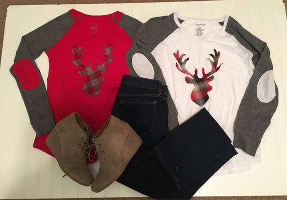 Buffalo plaid deer silhouette womens shirt, ladies wintet raglan shirt, elbow patches, buffalo plaid flannel deer head, red gray womens shir
