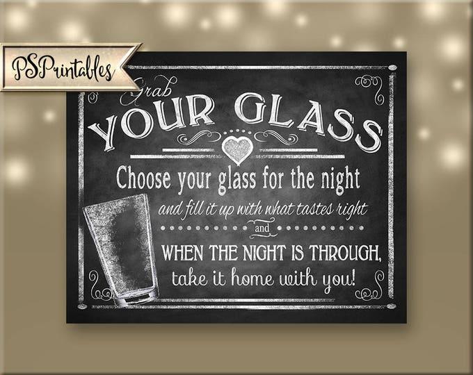 Printable Wedding Pint Glass Favors sign, pint glass wedding favors sign, chalkboard wedding, DIY rustic wedding signs, barn wedding sign