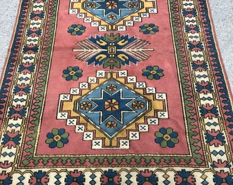 "96"" x 70"" area rug ,turkish rug,vintage rug ,yellow rug, decotive rug , rug , melas rug"