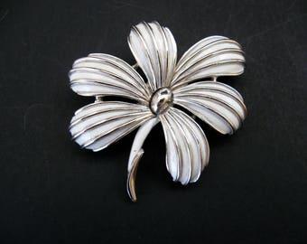 Crown Trifari Silver Tone and White Enamel Flower Brooch / Vintage Crown Trifari Flower Pin