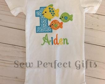Baby Boy, Fish Birthday, Fish 1st Birthday. Aquarium Birthday. Onesie. Sea lifeBirthday Shirt, Animal first birthday outfit