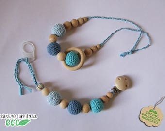 Set necklace and pacifier Beige, white and Brown