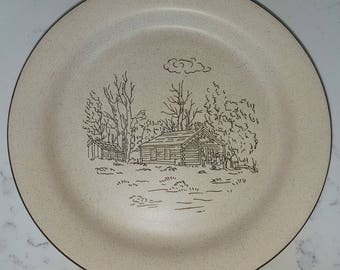 Vintage, hand made, Collection Manoir dinner plate, soup bowl and mug, Log Cabin pattern, china replacement