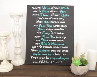 disney signs - inspirational quote sign - disney wall decor - personalized wedding sign - personalized anniversary sign - Gift for her
