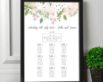 Printable Stephanotis Botanical Wedding Seating Chart | Wedding Table Plan | Custom Wedding Seating Chart | White with Greenery