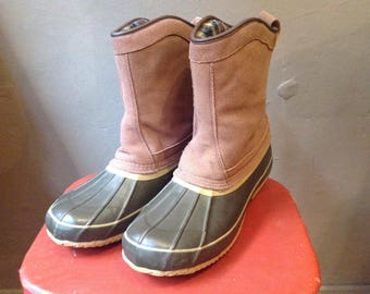 Vintage Khombu duck hunting rain snow boots rubber leather LL Bean womens US size 11 uk 9 EUR 43 outdoor rugged