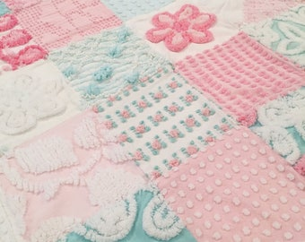 Shabby Cottage Chic and Cotton Candy Sweet Vintage Chenille Baby Quilt 34x40 Inches