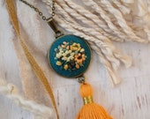 Gold Orange Yellow Mustard Tassel Hand Embroidered Necklace Pendant - Bouquet Sunflower Flowers - Teal Fabric  - Antiqued Bronze Gold