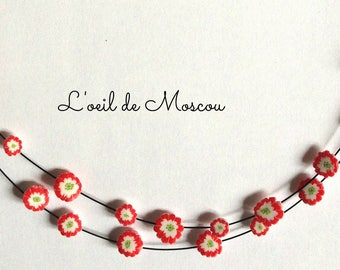 Red and white Japanese inspired flowers on black wire necklace