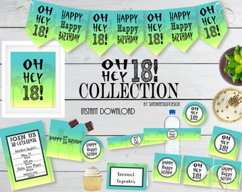 Printable 18th Birthday Party Collection, Printable Ombre Party Decorations, Instant Download 18th Ombre Party by SUNSHINETULIPDESIGN