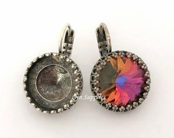 Antique Silver Earrings Settings 1 Pair Fit Swarovski Crystal 14mm 1122 Rivoli Crown Prong Settings