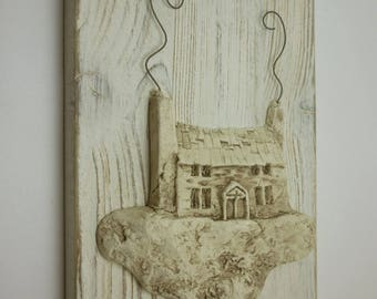 Hand painted ceramic enamelled Panel with vintage effect