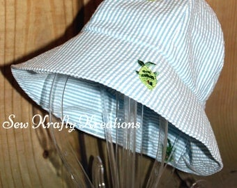 Toddler Sun Hat - Blue Gingham with Fish