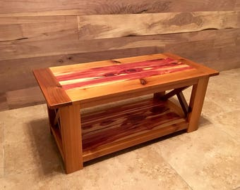 Rustic Aromatic And Western Red Cedar Farmhouse Coffee Table