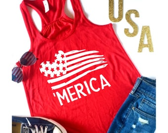 Ready to Ship, Merica Flowy Racerback Tank, 4th of July Shirt, Fourth of July, Patriotic Shirt, Day Drinking, Funny Shirt