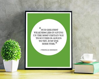 Motivational Quote, Thomas Edison Quote, Inspirational Quote Decor, Instant Download, Quote Decor, Quote Home Decor, Custom Color, 8x10""