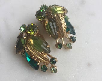 1930's Green Glass Clip On Earrings Signed West Germany