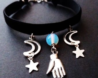 witchy moon bracelet - occult jewelry - gothic jewellery - nu goth - wiccan jewelry