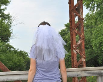 Bridal Shower Party Veil, Bachelorette Veil, Wedding Veil, White Tulle Veil With Bow, Hen Party Veil, 1st Communion Veil, Flower Girl Veil