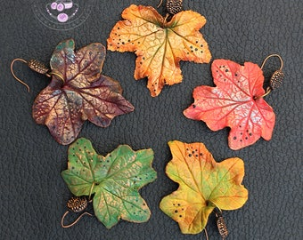 Maple leaf earrings Autumn leaf earrings Fall earrings Dangle earrings Fall jewellery Leaves jewellery Statement earrings Polymer clay