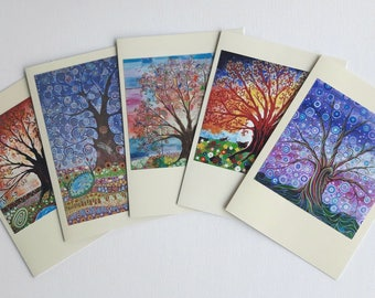 Tree of Life Art Nouveau Greeting Cards Psychedelic Nature and Wildlife Art Nouveau Birthday Art Card Pagan Art Folk Art Pack of 5
