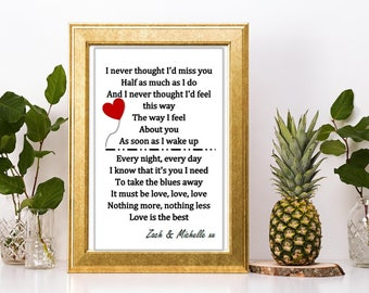 Valentines day gift personalised Madness It must be love lyric heart print or canvas boyfriend girlfriend wife husband