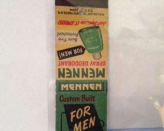 ON SALE Mennen Spray Deodorant Matchbook Cover