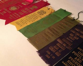 ON SALE Vintage State County Fair Prize Ribbons 1920's / 1940's Ohio Wisconsin Wyoming Pennsylvania Farm Competition 4-H Rabbits Poultry Old