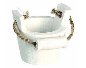 Mini wood bucket with handle white size 5 cm x 5 cm