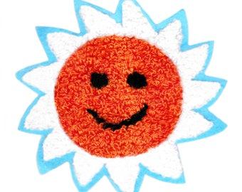 Large & Cute Chenille Sun Patch 10cm Applique
