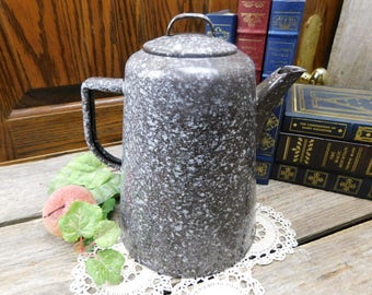 Vintage Brown Speckle Ware Granite Ware Coffee Pot