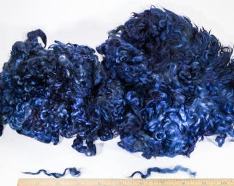 """Midnight Blue Dyed Wensleydale Teeswater Cross Sold By the Ounce 4""""- 5"""" Locks Great for Doll Hair Reroot Felting Locks Spinning Weaving"""