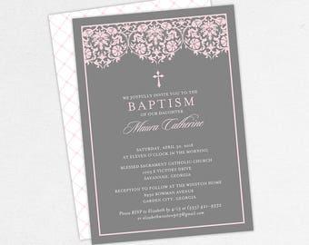Girl Baptism Invitation, Christening Invitation, Printable Baptism Invitation, PDF Invite, DIY Invite, Lace, Floral, Damask, Pink, Maura