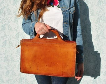Leather bag, tooled leather bag, leather laptop bag, vintage tooled leather bag, leather briefcase, tooled briefcase, leather satchel