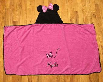 Personalized Minnie Mouse Pool / Bath / Beach Hooded Towel