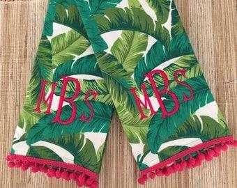 Monogrammed  Dishtowel- Tropical Leaves, Personalize Gift, Hostess Gift