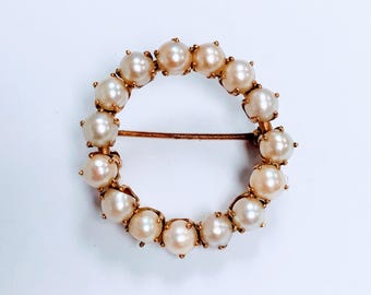 Antique ladies Pin with seed Pearls 10k Rose gold