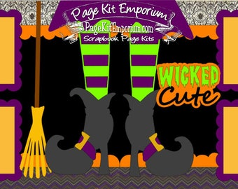 Scrapbook Page Kit Halloween Wicked Cute Witch Boy Girl 2 page Scrapbook Layout Kit 142