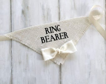 Medium/Large READY TO SHIP Ivory Ring Bearer Bandana with Bow Tie Wedding Collar Boy Bowtie Engagement Save the Date Photo Prop