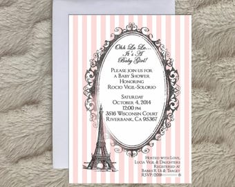 Paris baby shower invitation, Eiffel tower, paris themed baby shower, printable invitation, parisian shower