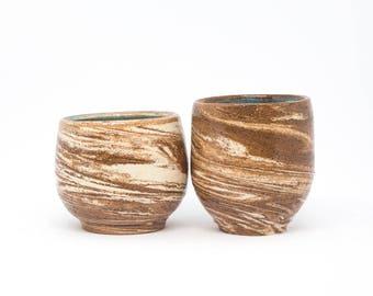 Two ceramic shot glasses. Handmade pottery shots set 2 handmade shot glasses Nericomi technique Shot glasses set Drink shots Gift for him