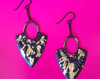 Night Sky: Black, Matte Medallions and Gold Leaf Earrings