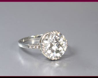 Antique Vintage Art Deco 14K White Gold 5.5 Carat Old European Cut Diamond Engagement Ring Wedding Ring - ER 493S