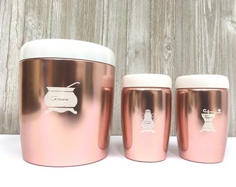 West Bend Canister Grease drip pot with Salt and Pepper Shakers Copper with White Lids, 1960's