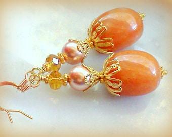 Aventurine Earrings, Pumpkin Colored Earrings, Peach Earrings, Handmade Earrings, Rose Gold Swarovski Earrings, Fall Earrings, Pale Orange