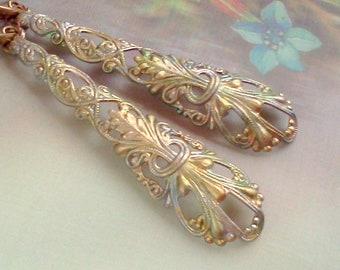 Hand Painted Long Dangles, Long Finial Earrings, Hand Painted Finials, Victorian Earrings, Vintage Style, Rainbow Colors, Boho, Birthday