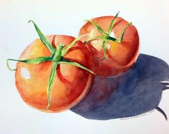 Tomatoes Original Watercolor Painting