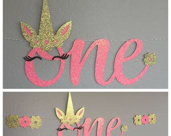 One Banner, high chair table, Unicorn pony, Happy Birthday, horn lashes flowers ears, script cursive, magical, First 1 decor decirations