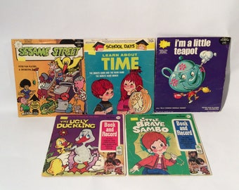 Vintage Lot of 5 1960s/1970s Peter Pan Records and Books
